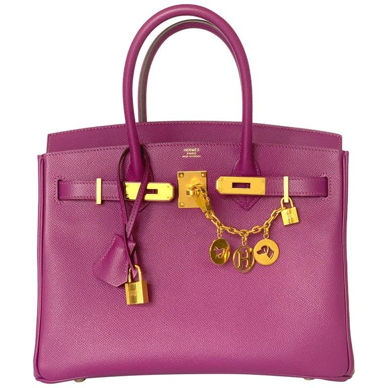 Hermes Birkin 30 Anemone Purple Epsom Gold Hardware Exotic Beauty For Sale