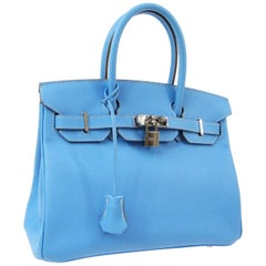 Hermes Birkin 30 Baby Blue Leather Silver Exotic Top Handle Satchel Tote Bag