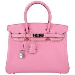 Hermes Birkin 30 Bag 5P Pink Epsom Palladium Hardware