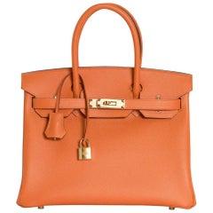Hermes Birkin 30 Bag Abricot Gold Hardware Epsom Leather New w/ Box