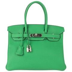 Hermes Birkin 30 Bag Bamboo Green Togo Palladium Hardware