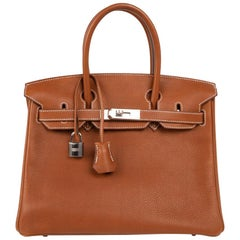 Hermes Birkin 30 Bag Barenia Faubourg Palladium Hardware