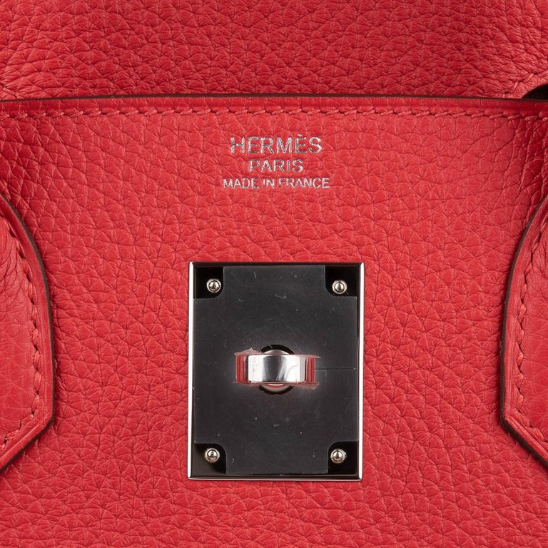 Hermes Birkin 30 Bag Bi-Color Rouge Tomate Natural Sable Togo Palladium  In New Condition For Sale In Miami, FL