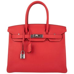 Hermes Birkin 30 Bag Bi-Color Rouge Tomate Natural Sable Togo Palladium