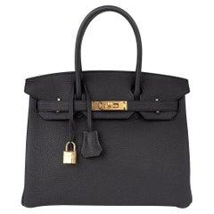 Hermes Birkin 30 Bag Black Gold Hardware Togo Leather