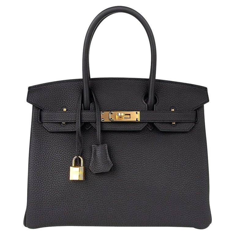 Hermes Birkin 30 Bag Black Gold Hardware Togo Leather For Sale