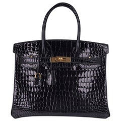 Hermes Birkin 30 Bag Black Porosus Crocodile Gold Hardware New w/Box