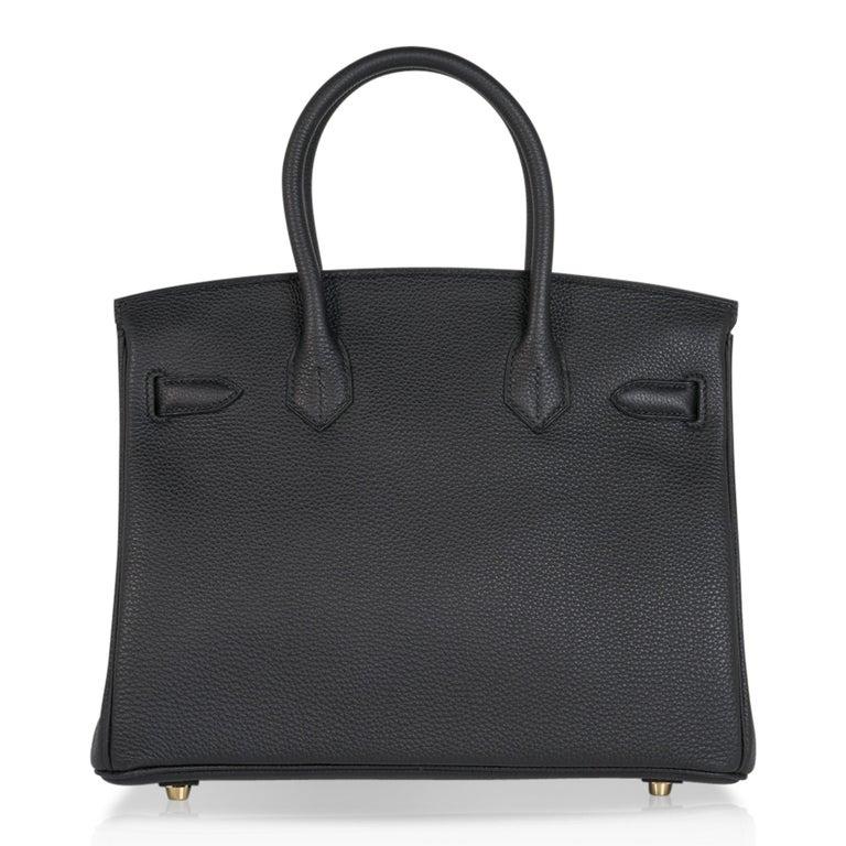 Hermes Birkin 30 Bag Black Gold Hardware Togo Leather For Sale 5