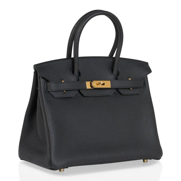 Hermes Birkin 30 Bag Black Gold Hardware Togo Leather For Sale 1