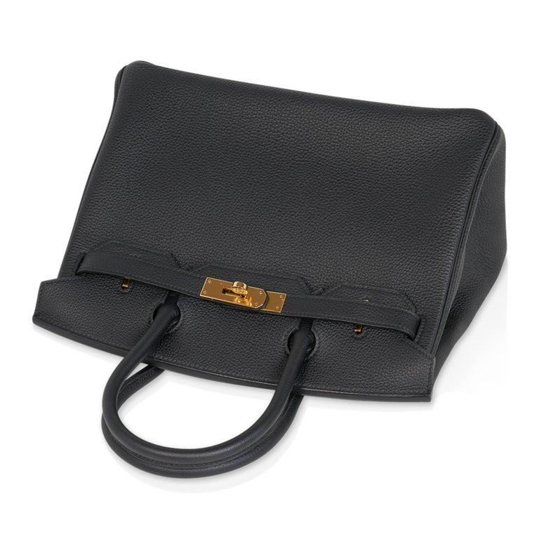 Hermes Birkin 30 Bag Black Gold Hardware Togo Leather For Sale 2
