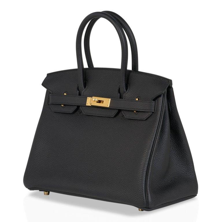 Hermes Birkin 30 Bag Black Gold Hardware Togo Leather For Sale 3