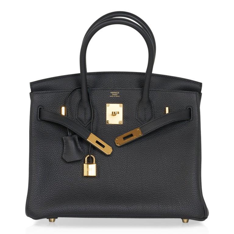 Hermes Birkin 30 Bag Black Gold Hardware Togo Leather For Sale 4
