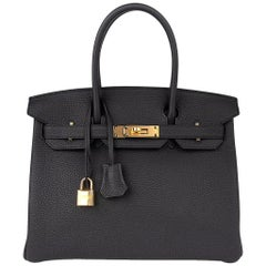 Hermes Birkin 30 Bag Black Togo Gold Hardware