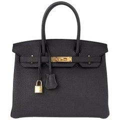 Hermes Birkin 30 Bag Black Togo Gold Hardware