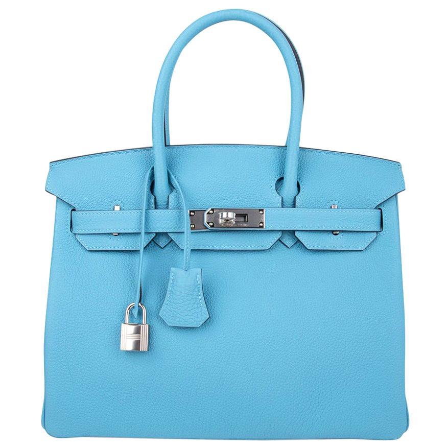 Hermes Birkin 30 Bag Blue du Nord Togo Leather Palladium Hardware