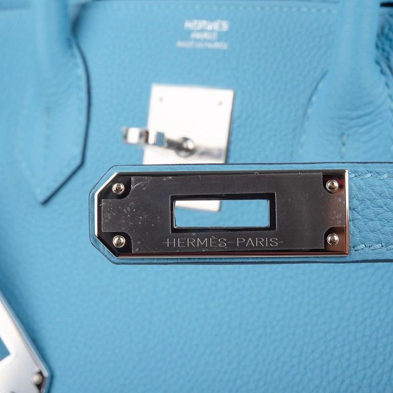 Hermes Birkin 30 Bag Blue du Nord Togo Palladium  In New Condition For Sale In Miami, FL