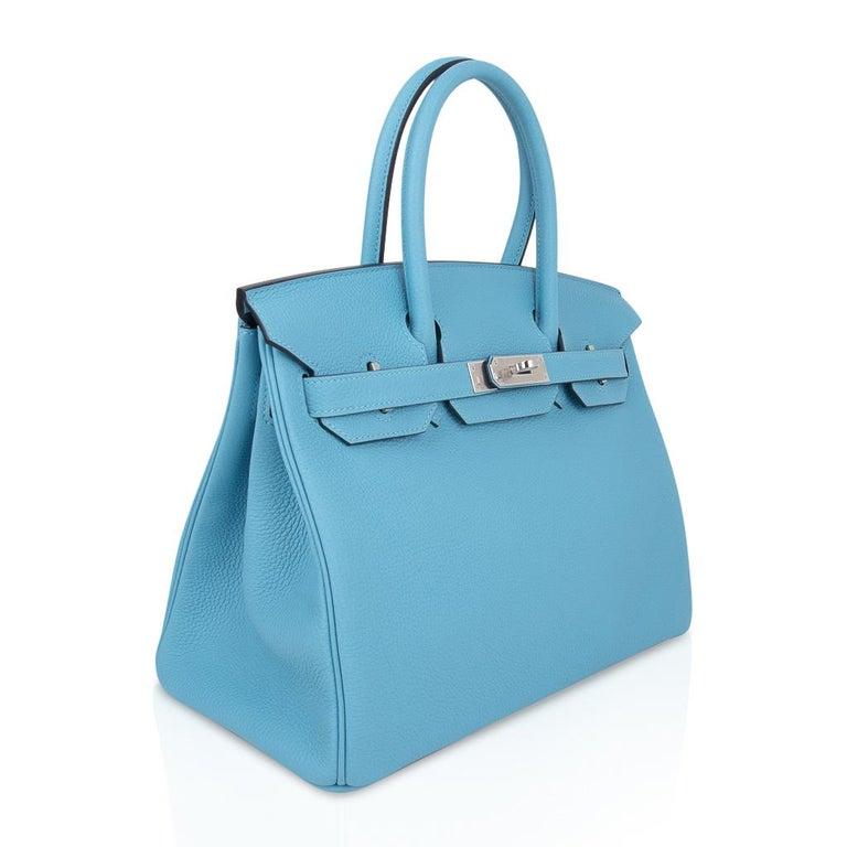 Hermes Birkin 30 Bag Blue du Nord Togo Palladium  For Sale 1