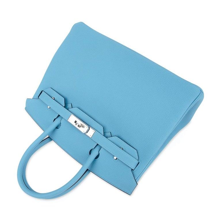 Hermes Birkin 30 Bag Blue du Nord Togo Palladium  For Sale 2