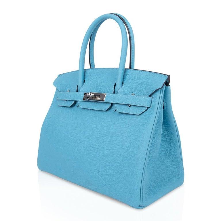 Hermes Birkin 30 Bag Blue du Nord Togo Palladium  For Sale 3