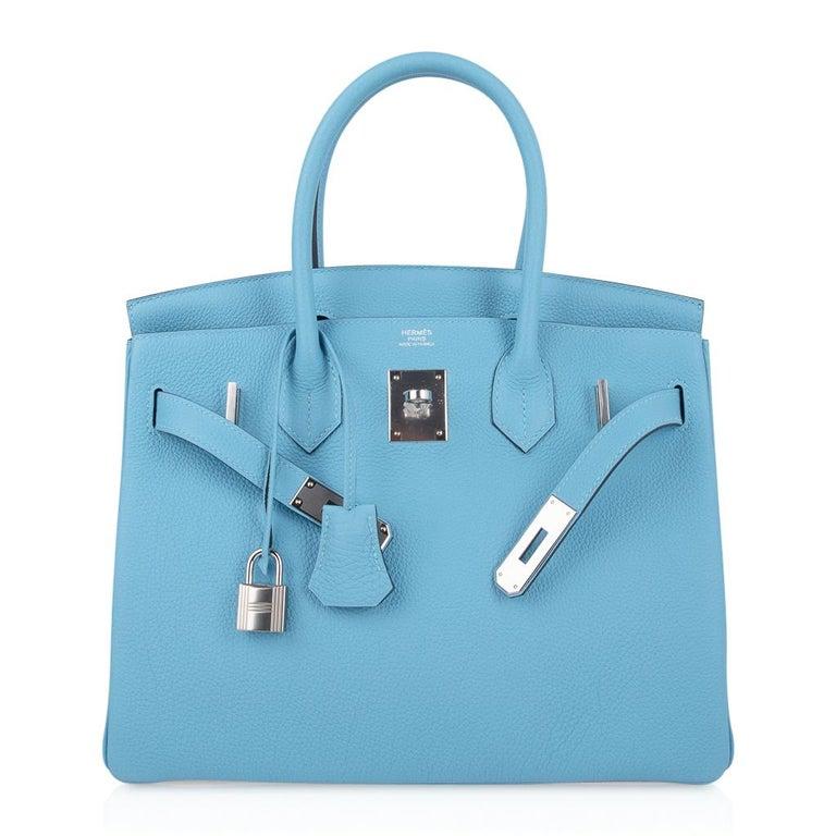 Hermes Birkin 30 Bag Blue du Nord Togo Palladium  For Sale 4