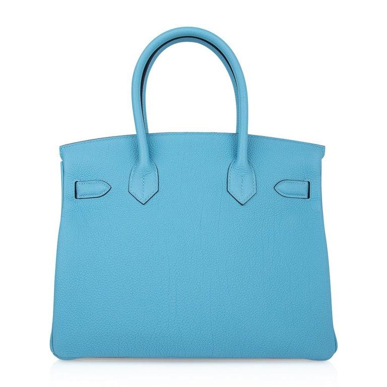 Hermes Birkin 30 Bag Blue du Nord Togo Palladium  For Sale 5