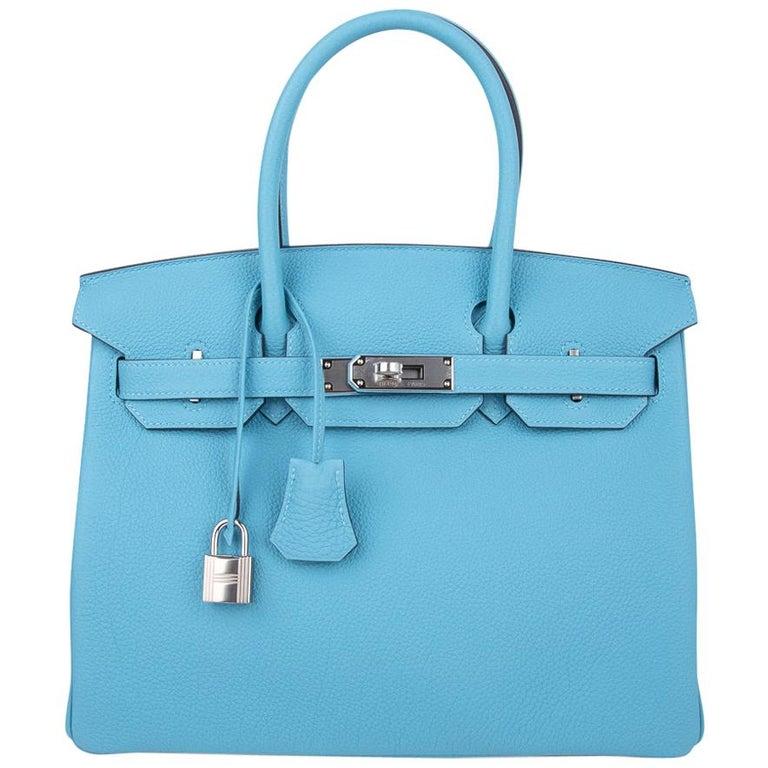 Hermes Birkin 30 Bag Blue du Nord Togo Palladium  For Sale