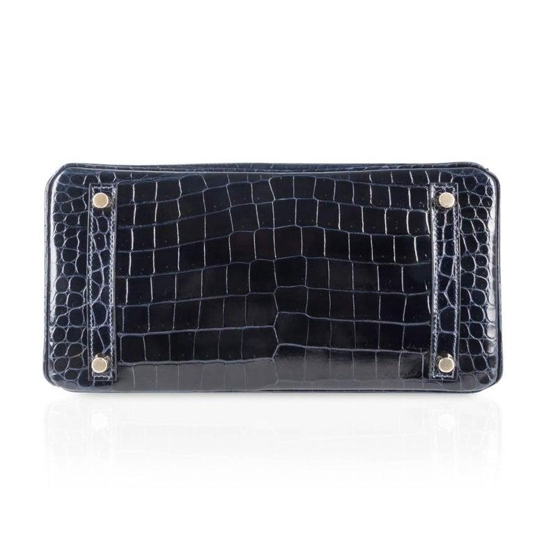 Hermes Birkin 30 Bag Blue Marine Porosus Crocodile Gold Hardware For Sale 5