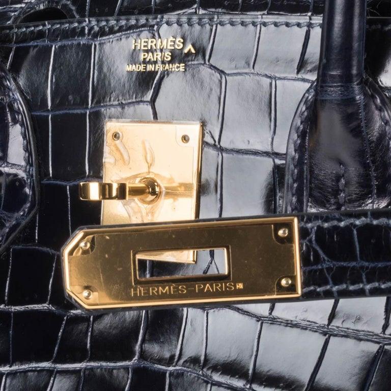 Black Hermes Birkin 30 Bag Blue Marine Porosus Crocodile Gold Hardware For Sale