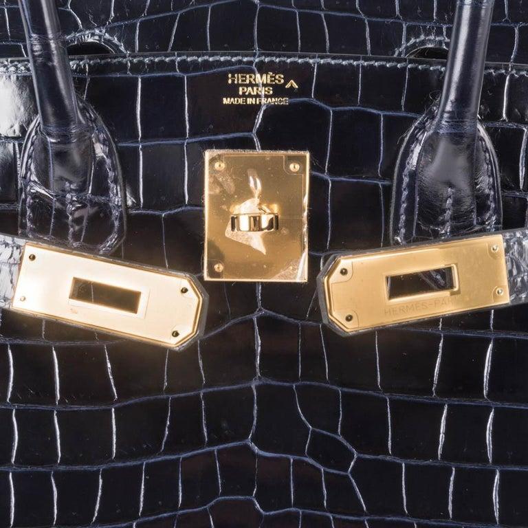 Hermes Birkin 30 Bag Blue Marine Porosus Crocodile Gold Hardware In New Condition For Sale In Miami, FL