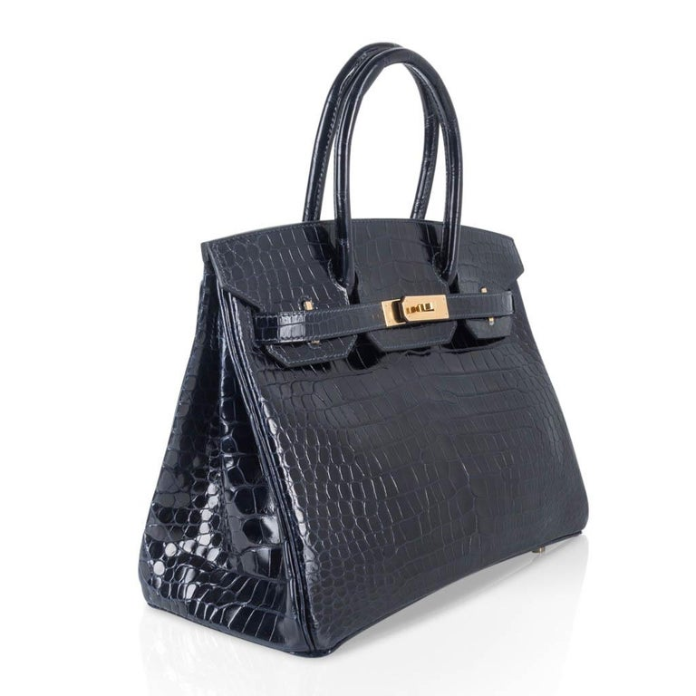 Women's Hermes Birkin 30 Bag Blue Marine Porosus Crocodile Gold Hardware For Sale