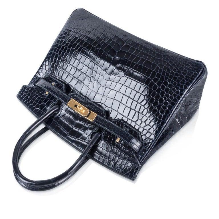 Hermes Birkin 30 Bag Blue Marine Porosus Crocodile Gold Hardware For Sale 1