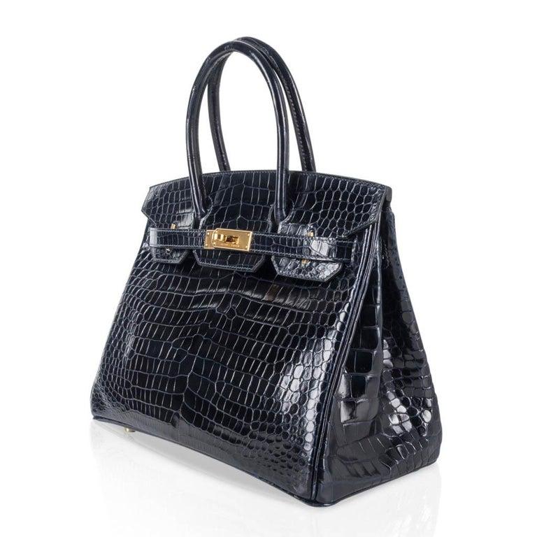 Hermes Birkin 30 Bag Blue Marine Porosus Crocodile Gold Hardware For Sale 2
