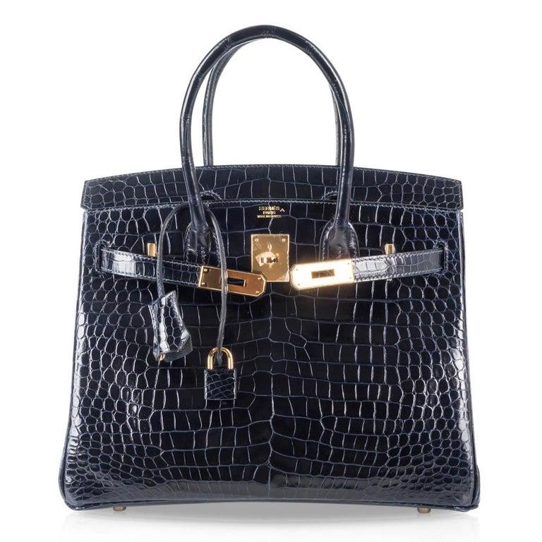 Hermes Birkin 30 Bag Blue Marine Porosus Crocodile Gold Hardware For Sale 3