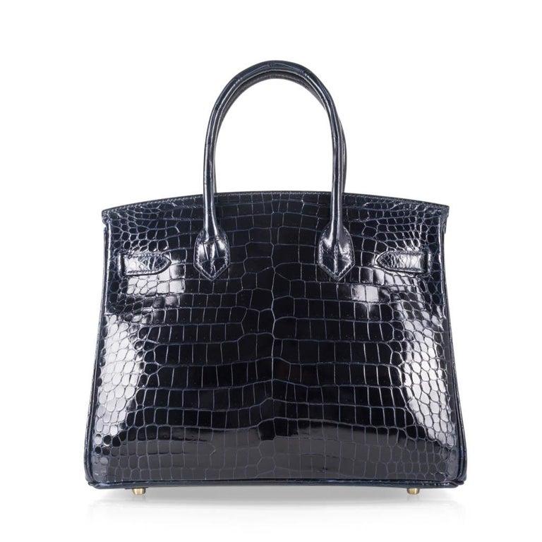 Hermes Birkin 30 Bag Blue Marine Porosus Crocodile Gold Hardware For Sale 4