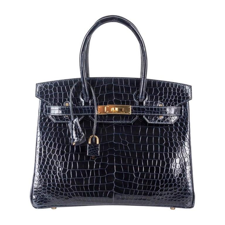 Hermes Birkin 30 Bag Blue Marine Porosus Crocodile Gold Hardware For Sale