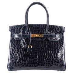 Hermes Birkin 30 Bag Blue Marine Porosus Crocodile Gold Hardware
