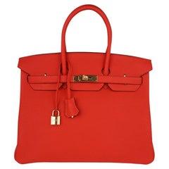 Hermes Birkin 30 Bag Capucine Gold Hardware Togo Leather New w/ Box