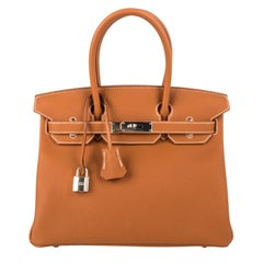 Hermes Birkin 30 Bag Classic Gold Togo Leather Palladium
