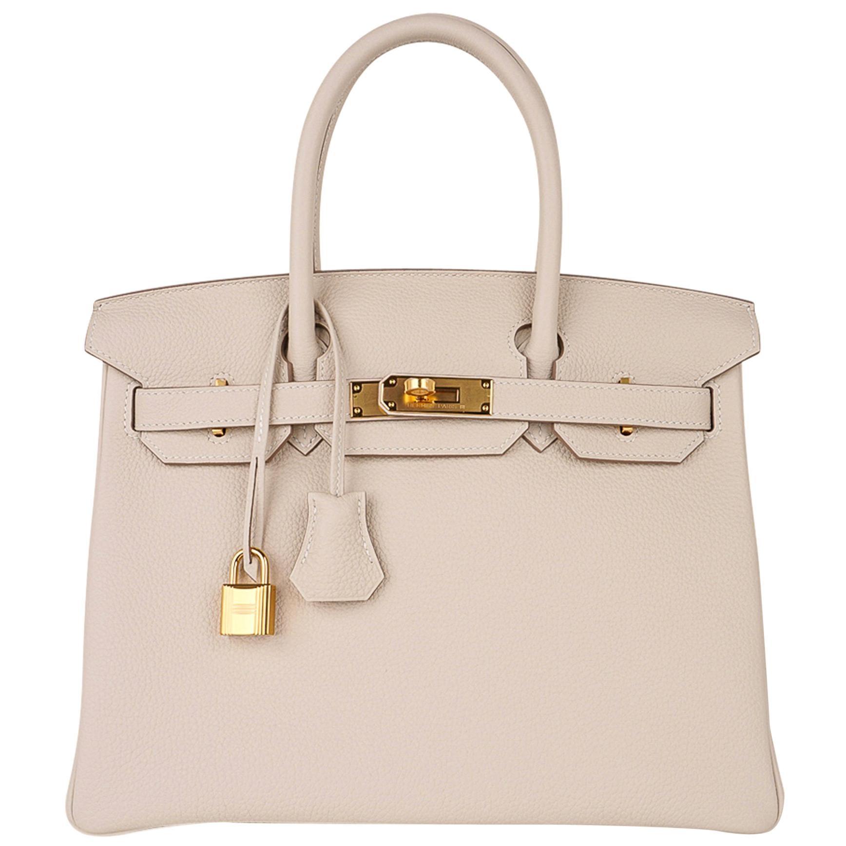 Hermes Birkin 30 Bag Craie Gold Hardware Togo Leather