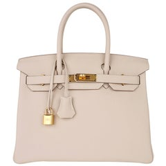 Hermes Birkin 30 Bag Craie Gold Hardware Togo Leather