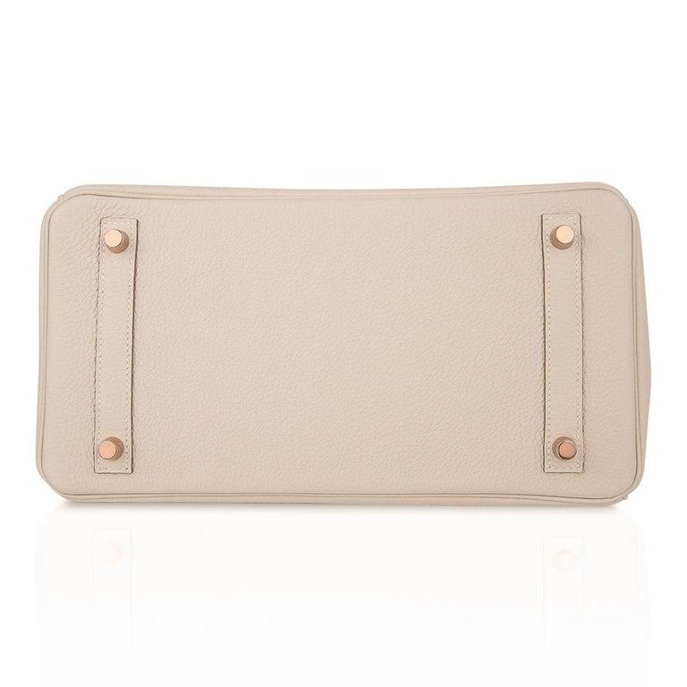 Hermes Birkin 30 Bag Craie Rose Gold Hardware New w/ Box For Sale 6