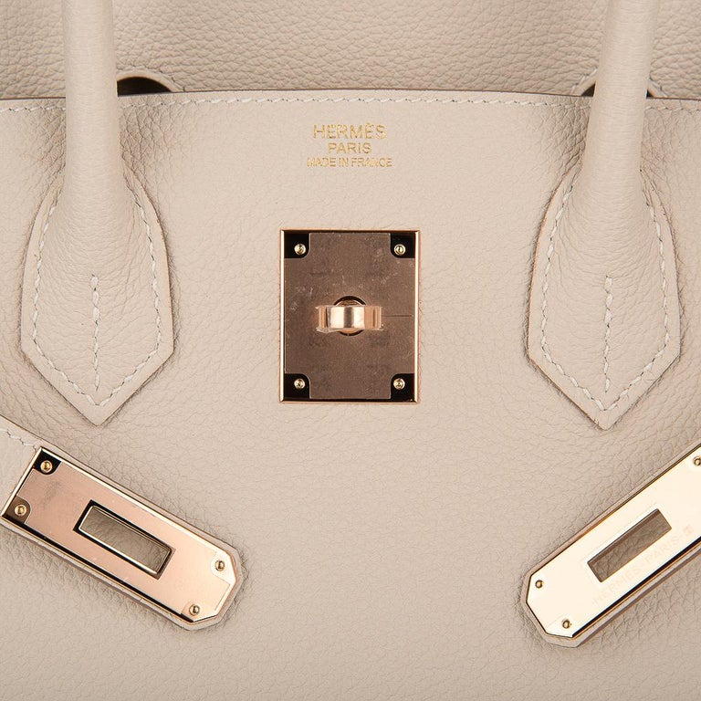 Hermes Birkin 30 Bag Craie Rose Gold Hardware New w/ Box In New Condition For Sale In Miami, FL