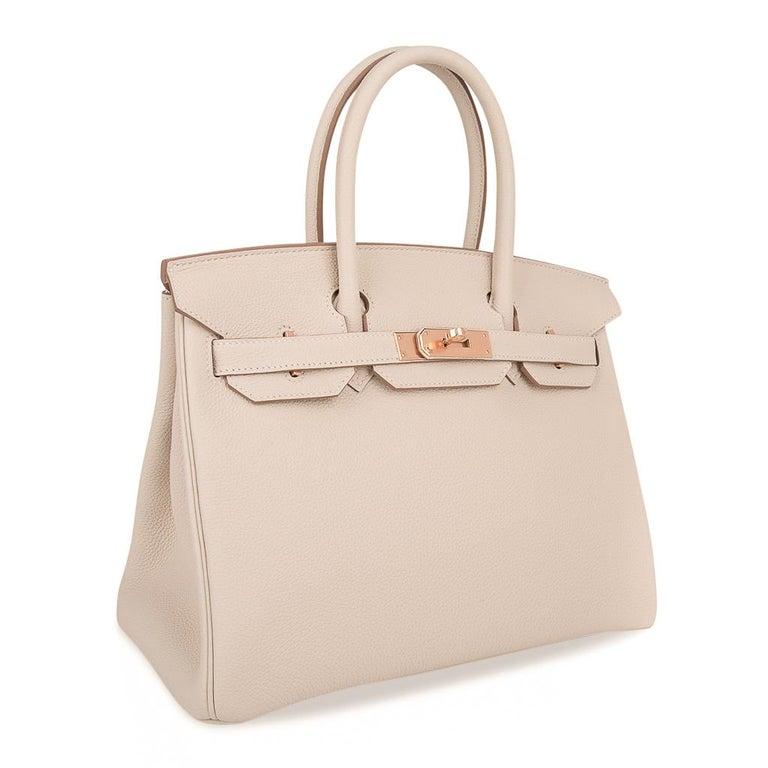 Hermes Birkin 30 Bag Craie Rose Gold Hardware New w/ Box For Sale 1