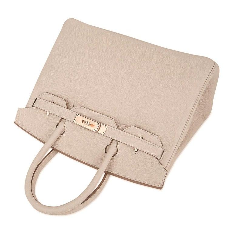 Hermes Birkin 30 Bag Craie Rose Gold Hardware New w/ Box For Sale 2
