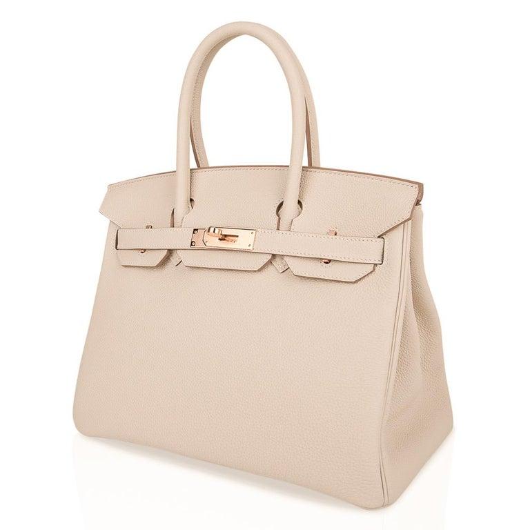 Hermes Birkin 30 Bag Craie Rose Gold Hardware New w/ Box For Sale 3