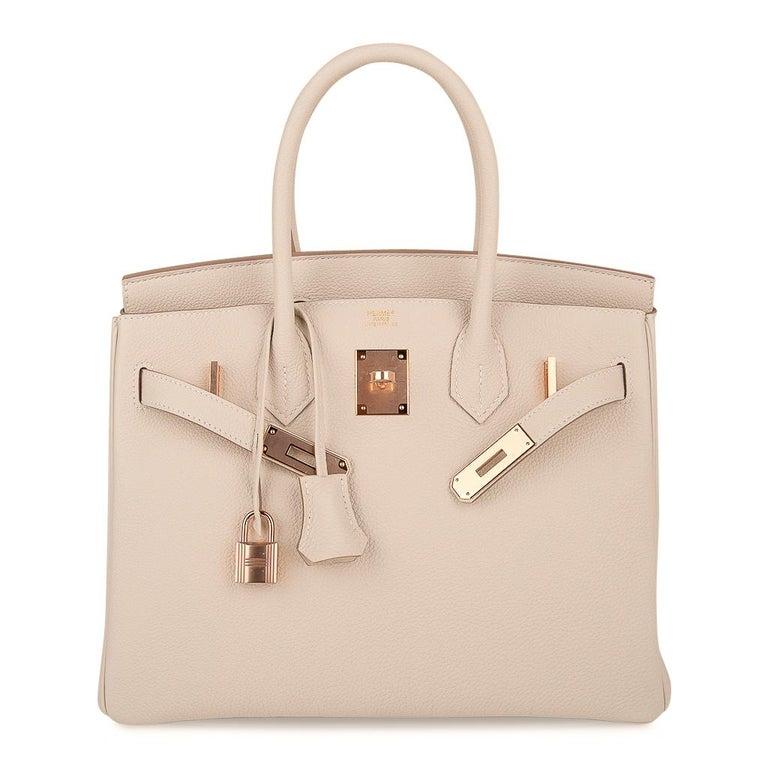 Hermes Birkin 30 Bag Craie Rose Gold Hardware New w/ Box For Sale 4