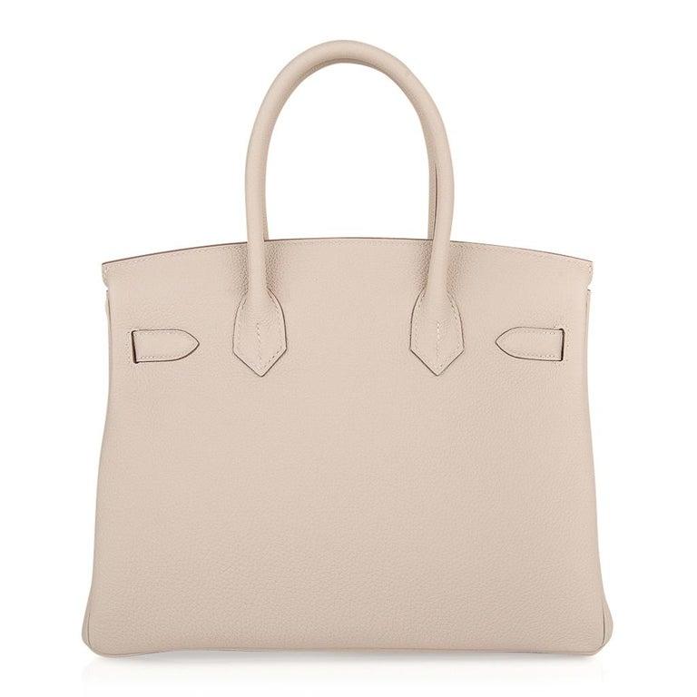Hermes Birkin 30 Bag Craie Rose Gold Hardware New w/ Box For Sale 5