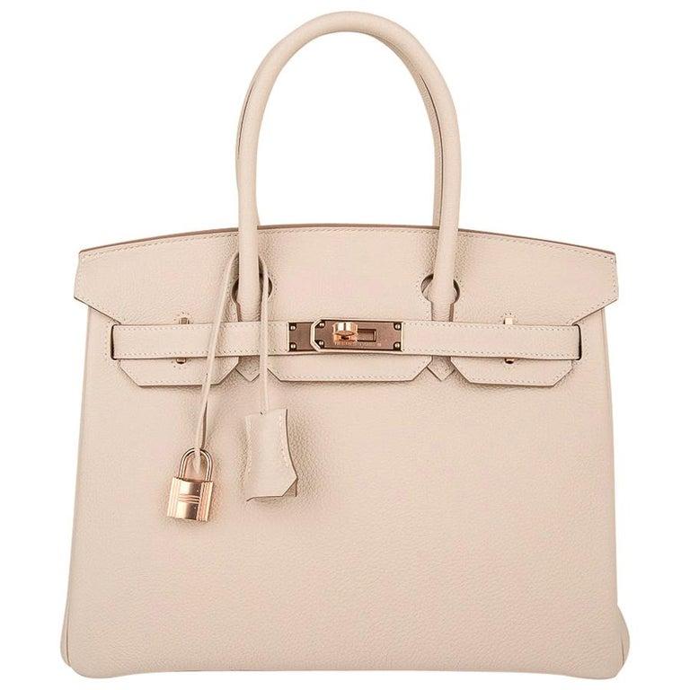 Hermes Birkin 30 Bag Craie Rose Gold Hardware New w/ Box For Sale