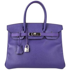Hermes Birkin 30 Bag Crocus Purple Epsom Palladium Hardware