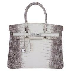Hermes Birkin 30 Bag Diamond Himalaya Blanc Crocodile Palladium Hardware